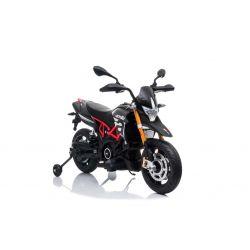 Motorek elektryczny APRILIA DORSODURO 900, licencjonowany, akumulator 12V, miękkie koła EVA, silniki 2 x 18W, zawieszenie, metalowa rama, metalowy widelec, koła pomocnicze, srebrny