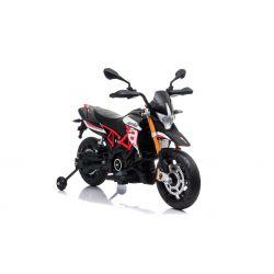 Motorek elektryczny APRILIA DORSODURO 900, licencjonowany, akumulator 12V, miękkie koła EVA, silniki 2 x 18W, zawieszenie, metalowa rama, metalowy widelec, koła pomocnicze, czerwony
