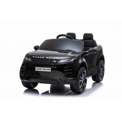 Autko elektryczne Range Rover EVOQUE, czarny, odpowiedni dla jednego dziecka, odtwarzacz MP3 z wejściem USB, napęd 4x4, akumulator 12V10Ah, koła EVA, oś zawieszenia, uruchamianie kluczyka, pilot Bluetooth 2,4 GHz, licencjonowany