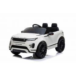 Autko elektryczne Range Rover EVOQUE, białe, odpowiedni dla jednego dziecka, odtwarzacz MP3 z wejściem USB, napęd 4x4, akumulator 12V10Ah, koła EVA, oś zawieszenia, uruchamianie kluczyka, pilot Bluetooth 2,4 GHz, licencjonowany