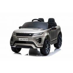 Elektryczny Range Rover EVOQUE, lakierowany, szary, odpowiedni dla jednego dziecka, odtwarzacz MP3 z wejściem USB, napęd 4x4, akumulator 12V10Ah, koła EVA, oś zawieszenia, klucz, pilot Bluetooth 2,4 GHz, licencja