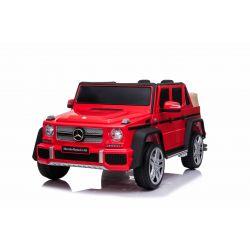 Elektryczne autko Mercedes G650 MAYBACH, czerwone, oryginalna licencja, zasilanie akumulatorowe 12 V, otwieranie drzwi, silnik 2 x 25 W, zdalne sterowanie 2,4 Ghz, miękkie koła EVA, zawieszenie, miękki start, odtwarzacz MP3 z wejściem USB / SD