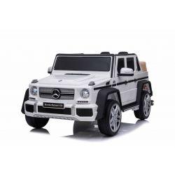 Elektryczne autko Mercedes G650 MAYBACH, białe, oryginalna licencja, zasilanie akumulatorowe 12 V, otwieranie drzwi, silnik 2 x 25 W, zdalne sterowanie 2,4 Ghz, miękkie koła EVA, zawieszenie, miękki start, odtwarzacz MP3 z wejściem USB / SD