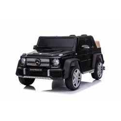 Elektryczne autko Mercedes G650 MAYBACH, czarny, oryginalna licencja, zasilanie akumulatorowe 12 V, otwieranie drzwi, silnik 2 x 25 W, zdalne sterowanie 2,4 Ghz, miękkie koła EVA, zawieszenie, miękki start, odtwarzacz MP3 z wejściem USB / SD
