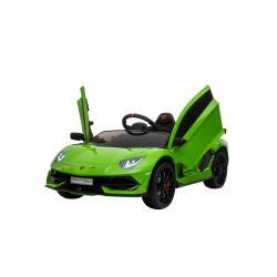 Samochód Elektryczny Lamborghini Aventador, 12 V, Pilot 2.4 GHz, Wejście USB / SD, Zawieszenie, Pionowe Drzwi Na Zawiasach, Miękkie Koła EVA, 2 X SILNIK, Zielony, Oryginalna Licencja