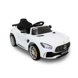 Elektryczne Autko, Mercedes-Benz GTR, Biały Kolor, Licencjonowany, Zasilanie Akumulatorem, 2 x Silnik, Pilot Zdalnego Sterowania 2,4 GHz, Miękkie Koła EVA, Gładki Start