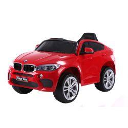 Elektryczne Autko, BMW X6M, NOWOŚĆ - Pojedyncze Siedzenie, Czerwony Kolor, Oryginalna Licencja, Zasilany Akumulatorem, Otwierane Drzwi, Skórzane Siedzenie, 2 x Silnik, Akumulator 12 V, Pilot 2,4 Ghz, Miękkie Koła EVA, Płynny Start