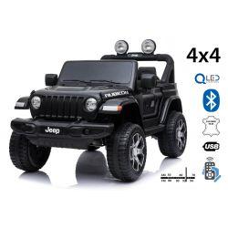 Samochód elektryczny JEEP Wrangler, Podwójne siedzenie, czarny, Skórzane siedzenia, Radio z odtwarzaczem Bluetooth, Wejście SD / USB, Napęd 4x4, Akumulator 12V10Ah, Koła EVA, Osie zawieszenia, Pilot 2,4 GHz