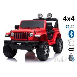 Samochód elektryczny JEEP Wrangler, Podwójne siedzenie, czerwony, Skórzane siedzenia, Radio z odtwarzaczem Bluetooth, Wejście SD / USB, Napęd 4x4, Akumulator 12V10Ah, Koła EVA, Osie zawieszenia, Pilot 2,4 GHz