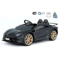 Samochód Elektryczny Lamborghini Aventador, 12 V, Pilot 2.4 GHz, Wejście USB / SD, Zawieszenie, Pionowe Drzwi Na Zawiasach, Miękkie Koła EVA, 2 X SILNIK, Czarny, Oryginalna Licencja