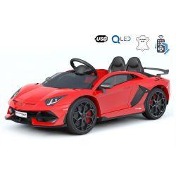 Samochód Elektryczny Lamborghini Aventador, 12V, Pilot 2.4 GHz, Wejście USB / SD, Zawieszenie, Pionowe Drzwi Na Zawiasach, Miękkie Koła EVA, 2 X SILNIK, Czerwony, Oryginalna Licencja