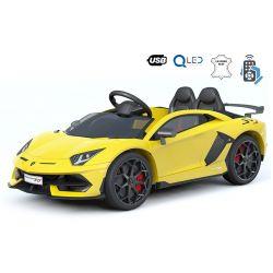 Samochód Elektryczny Lamborghini Aventador, 12 V, Pilot 2.4 GHz, Wejście USB / SD, Zawieszenie, Pionowe Drzwi Na Zawiasach, Miękkie Koła EVA, 2 X SILNIK, Żółty, Oryginalna Licencja