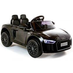 Elektryczne auto Audi R8 Małe, czarne, oryginalna licencja, zasilany akumulatorem, otwierane drzwi, silnik 2x 35 W, akumulator 12 V, pilot 2,4 Ghz, miękkie koła EVA, zawieszenie, miękki start