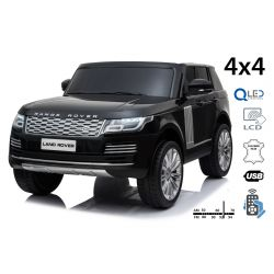 Elektryczne Autko Range Rover, Podwójne Siedzenie, Czarny Kolor, Skórzane Fotele, Wyświetlacz LCD Z Wejściem USB, Napęd 4 x 4, 2 x 12 V 7 AH, Koła EVA, Osie Zawieszenia, 2.4 GHz Pilot Bluetooth