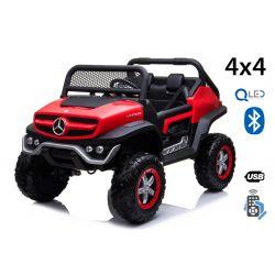 Elektryczne Autko Mercedes Unimog, Czerwony, 4 x 4, 12 V/14 Ah, Koła EVA, Szeroki Fotel 2-osobowy, Pilot 2,4 GHz, 4 x SILNIK, SB, Bluetooth